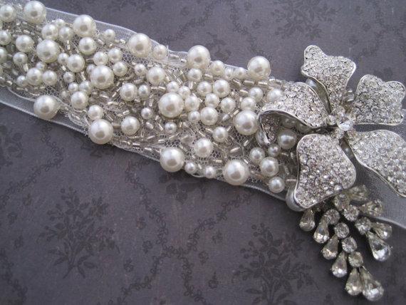 Свадьба - Pearl and rhinestone headband hair tie