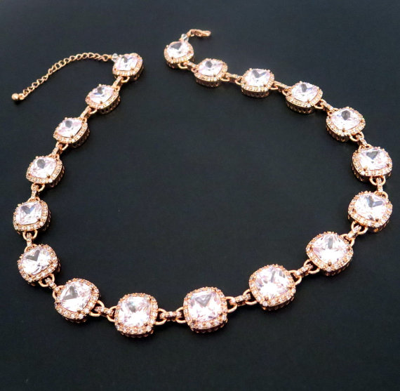 Свадьба - Rose gold Bridal necklace, Rose gold statement necklace, Crystal wedding necklace, Rose gold jewelry