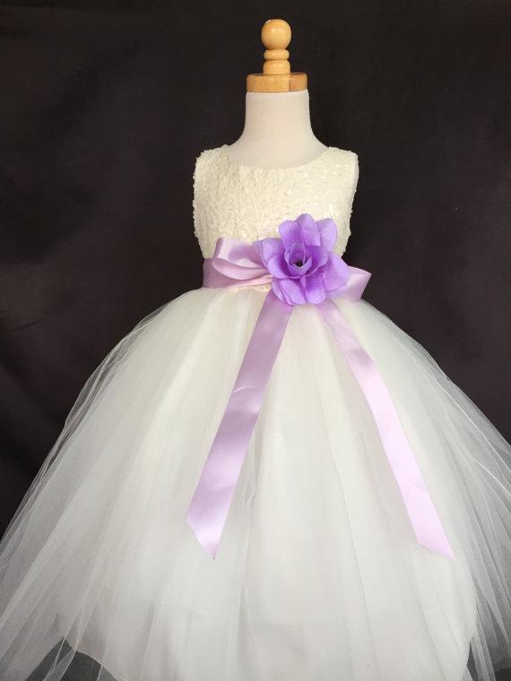 Свадьба - Ivory Wedding Bridal Bridesmaids Sequence Tulle Flower Girl dress Toddler