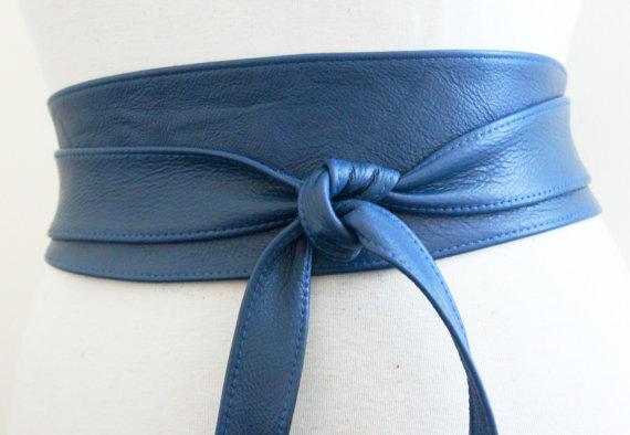 Свадьба - SALE! Blue Leather Obi Belt