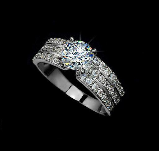 1.25ct Round Cut Cubic Zirconia 3 Row Pave Engagement Ring Wedding ...