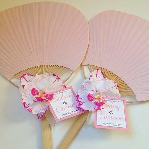 Mariage - Paddle Fan with Orchid, Rainbow Paddle Fan, Beach Wedding Fan, Hand Fan, Fan Program