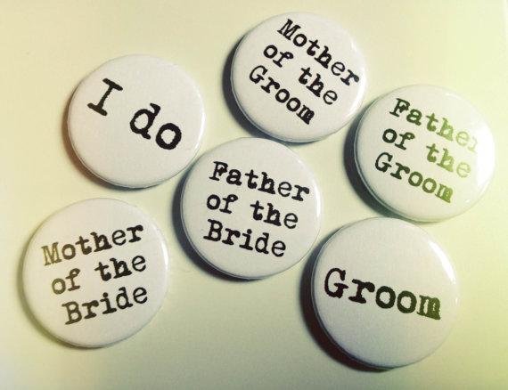 Hochzeit - BOHO WEDDING badge pin bridal bouquet decoration // wedding favors favours keepsake // vintage retro hippy bride groom print stamped custom