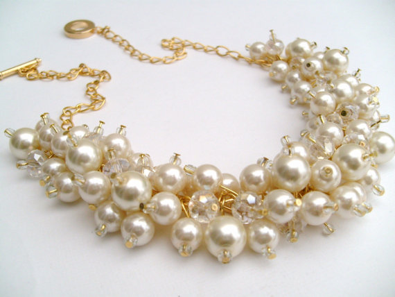 Wedding - Pearl Beaded Necklace, Bridal Jewelry, Cluster Necklace, Chunky Necklace, Bridesmaid Gift, Gold Plated - Pearl and Crystals by Kim Smith