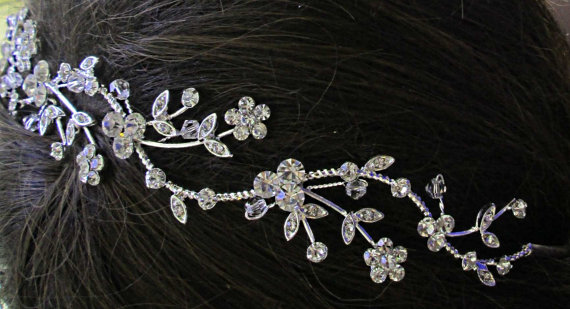 Mariage - Wedding Headband, Crystal Tiara, Bridal Hair vine, Flower hair band, Silver Hairpiece, Crystal Head Piece, Bridal head band Vintage Style