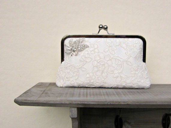 Ivory Lace Bridal Clutch Bag Rhinestone Wedding Clutch Lace Clutch Off White Clutch ...