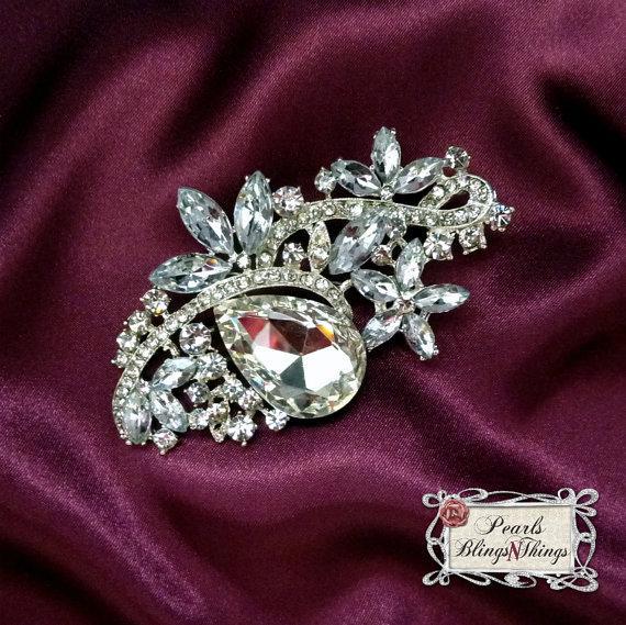 Sale Beautiful Ex Large Clear Crystal Pearl Rhinestone Pewter