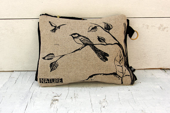 Clutch Black White Boho Purse Linen Make Up Bag Bird