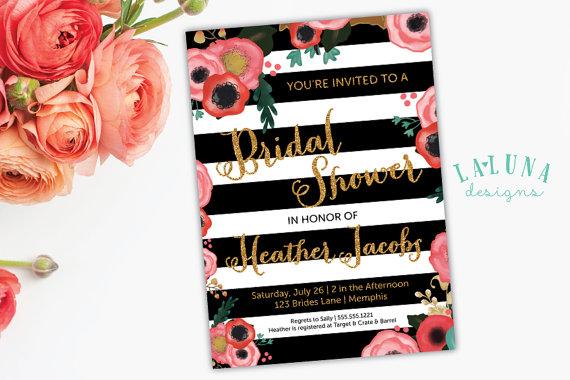 Hochzeit - Bridal Shower Invitation, Floral Black & White Stripe Bridal Shower Invite, Gold Glitter Bridal Shower, DIY Printable