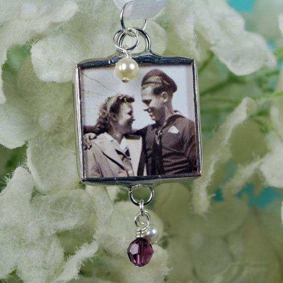 Mariage - Custom Memorial Bouquet Charm Wedding Pendant Personalized Bridal Accessories