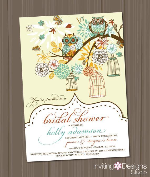 Hochzeit - Owl Bridal Shower Invitation, Birdcage, Retro, Vintage, Wedding Shower Invitation, Birds