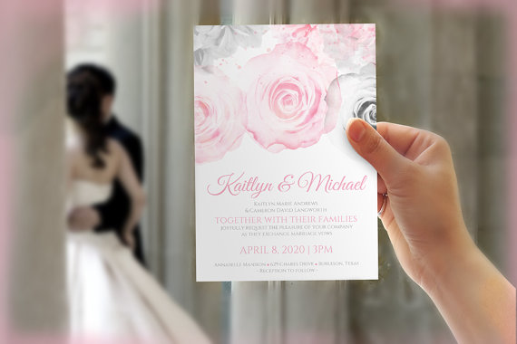 Wedding - DiY Wedding Invitation Template - Download Instantly - EDITABLE TEXT - Watercolor Bouquet (Pink & Gray)  - Microsoft® Word Format