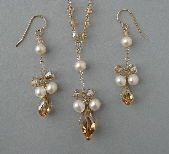 Wedding - Genuine Swarovski Crystal & White Freshwater Pearls in Gold Filled Necklace and Earrings - Bridal Set - Bridesmaid Gift -Wedding Set- DK114