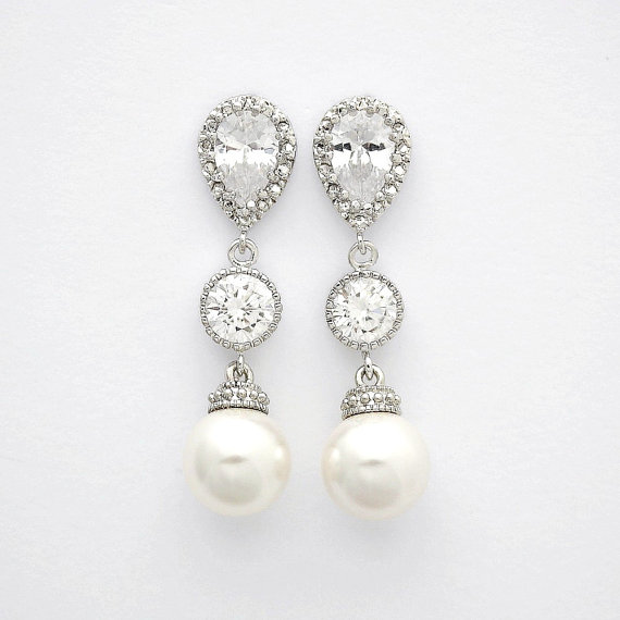 Mariage - Pearl and Crystal Earrings Bridal Pearl Earrings Wedding Pearl Jewelry Cubic Zirconia Drop Earrings Silver Wedding Earrings