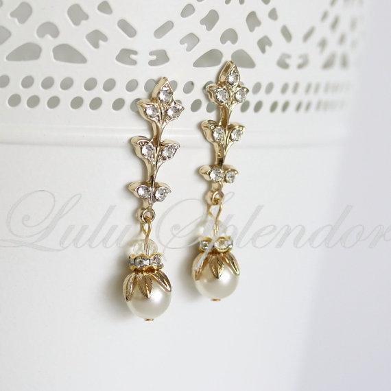 Mariage - Art Deco Bridal Earrings Gold Wedding Earrings Pearl Rhinestone Vintage Wedding Jewelry NEVE