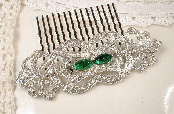 Mariage - Hair Comb OR Sash Brooch Original 1920s Emerald Antique Art Deco Green Rhinestone Pave Crystal Gatsby Bridal Sash Pin OOAK Wedding HairPiece