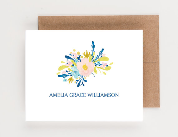 Mariage - Personalized Stationery, Floral Bouquet, Gold, Blush Pink and Blue, Wedding and Bridal Stationery, Boxed Set, Shower Gift, Hostess Gift