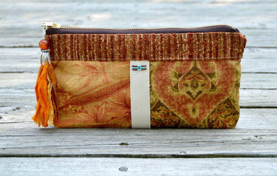 Mariage - Rust Beaded Clutch. Flowers Purse. Camera Bag Gadget Wedding. Rust Earthy Colors Pearls Ruffles