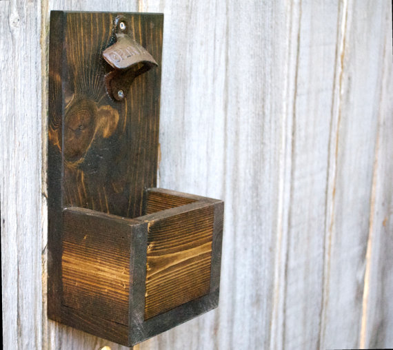 Hochzeit - Rustic Bottle Opener, Beer Bottle Opener, Bottle Opener, Cap Collector, Father's Day, Father's Day Gift, Groomsmen Gift, Groomsman Gift