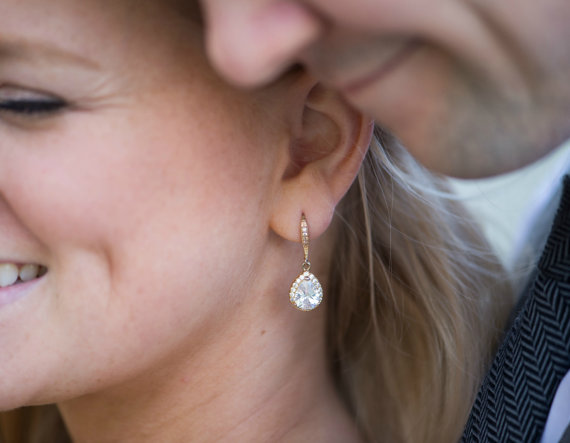 Mariage - Bridesmaid Jewelry CZ Dangle Earrings Bridal Drop Earring Silver or Gold Bridesmaid Gift Bridal Jewelry Gold Earrings Silver Earrings