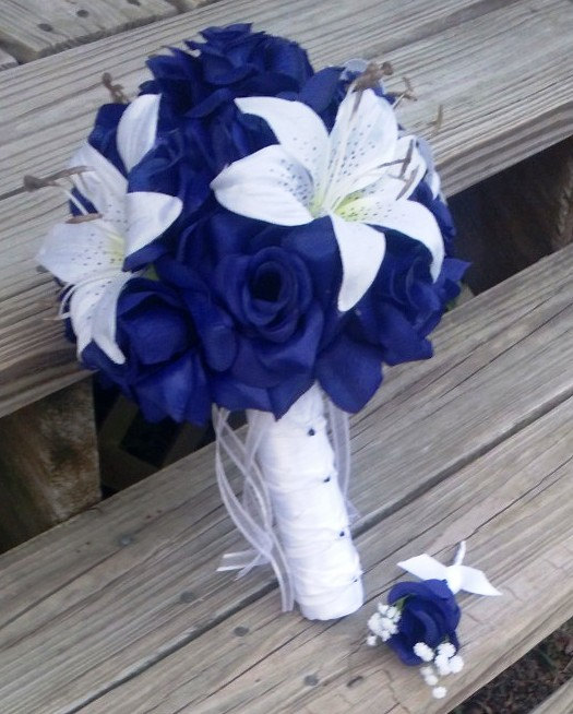 Royal Blue Rose White Lily Wedding Bouquet With Boutonniere, Royal ...