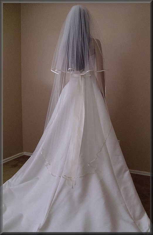 Wedding - Double Tier with Satin Ribbon Wedding Veil