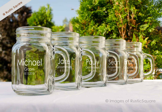 1 Personalized Mason Jar Mugs Groomsmen Gift Custom Engraved Wedding Party Gifts For 16oz Gles Mustache