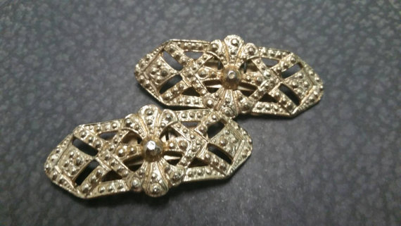 Mariage - Vintage Gold Tone Cluster MUSI Shoe Clips Wedding Bridal