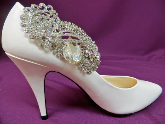 Wedding - Rhinestone Shoe Clips, Bridal Shoe Clips, Wedding Shoe Accessory