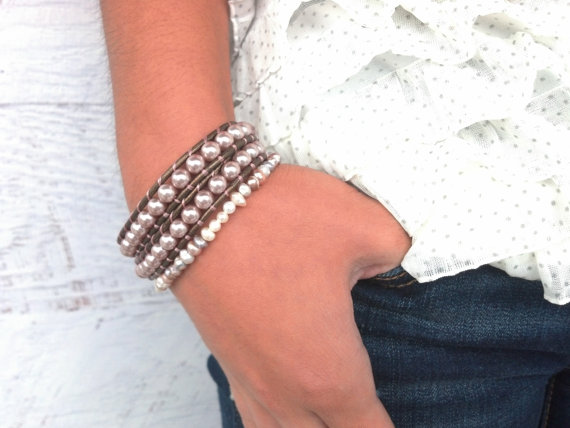 Wedding - Shimmery Brown and Pale Pink Leather Wrap Bracelet, Bridal Jewelry, Western Wedding, Everyday Pretty
