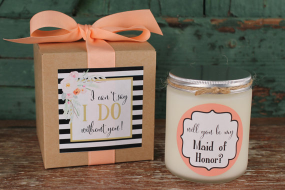 Will You Be My Bridesmaid Gift Maid Of Honor Candle Idea