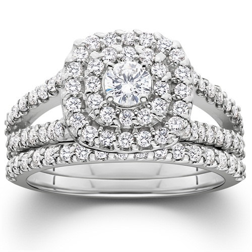 1 10ct Diamond Cushion Double Halo Engagement Ring Matching Wedding