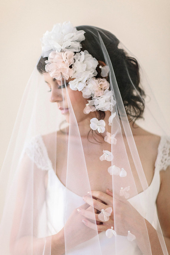 wedding veil bridal veil with flowers ivory white blush champagne