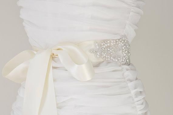 Wedding - Wedding Sash - Belt,Bridal Sash,Rhinestone Sash,Beaded Sash, Satin Wedding Sash
