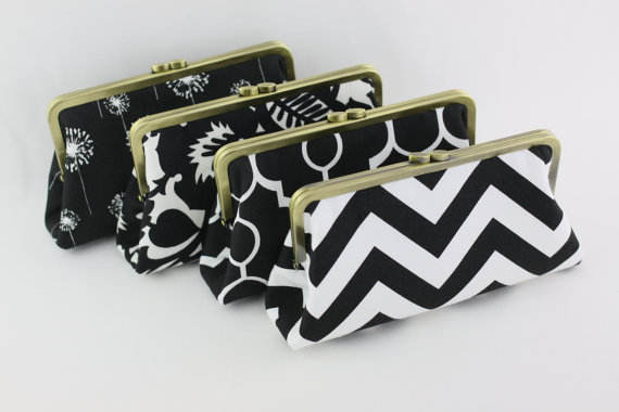 Wedding - Black & White Wedding Clutches, Bridesmaids Clutches, Monogrammed Wedding Gifts - Set of 4