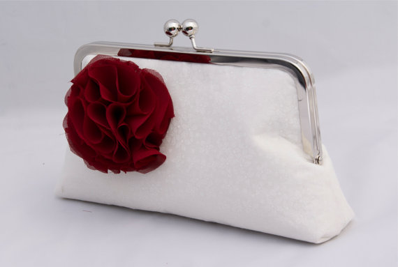 Wedding - Ivory Bridal Handbag Wedding Handbag Clutch for Bride or Bridesmaids in Delicate Ivory Fabric with flower- Design your Own in Ivory or White