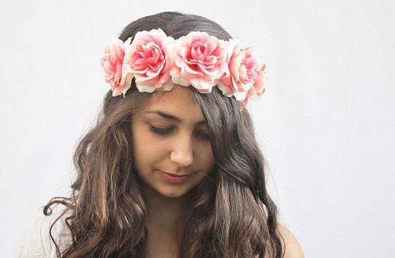 Mariage - Coral Pink Rose Crown - Pink Flower Crown, Rose Headband, Rose Floral Crown, Bridesmaids, Rose Crown, Bohemian, Gift Idea, Peach, Pink Roses