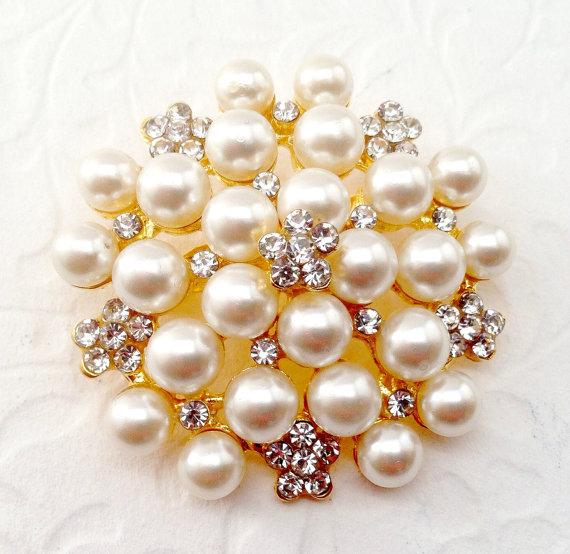 Mariage - Gold Pearl Rhinestone Brooch DIY Flat Back Embellishment  Pin Clear Crystal Pearl Wedding Broach Gold Pearl Brooch Bouquet Sash Supply  gpr1