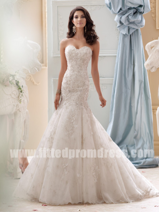 David Tutera For Mon Cheri Style Gia 115232 Strapless Mermaid Wedding Dresses