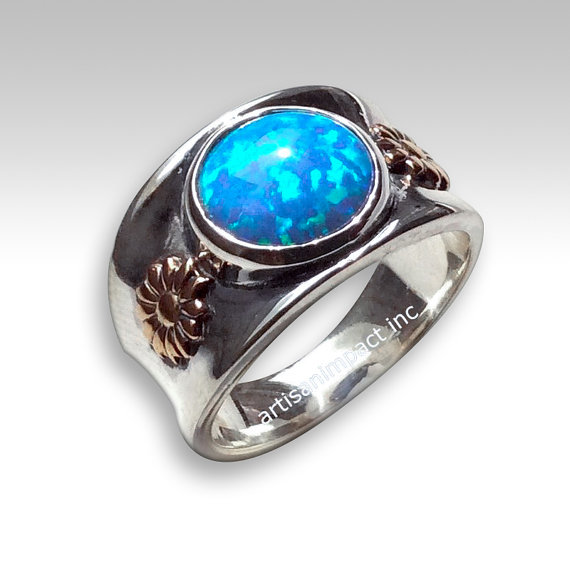 Gold Silver Ring Silver Yellow Gold Ring Engagement Ring Opal