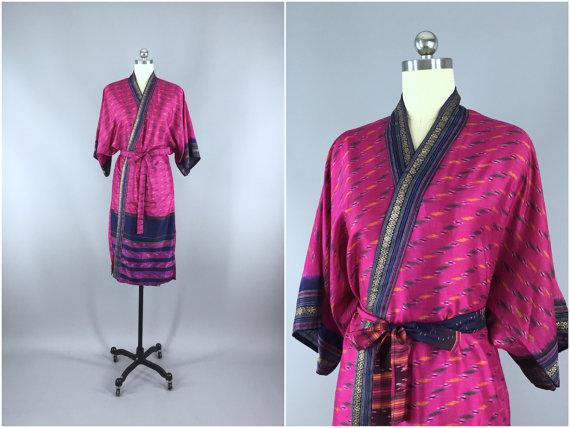 Wedding - Silk Robe / Silk Sari Robe / Silk Kimono Robe / Vintage Indian Sari / Silk Dressing Gown Wedding Lingerie / Boho Bohemian / Navy & Pink Ikat