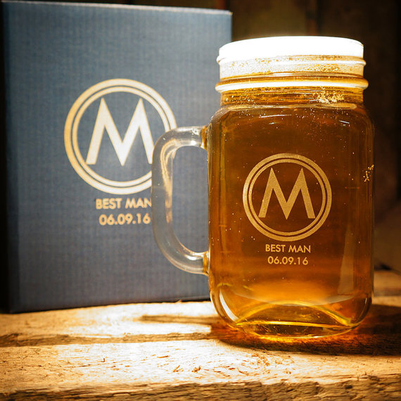 groomsmen gift personalised beer glasses custom engraved mason jar