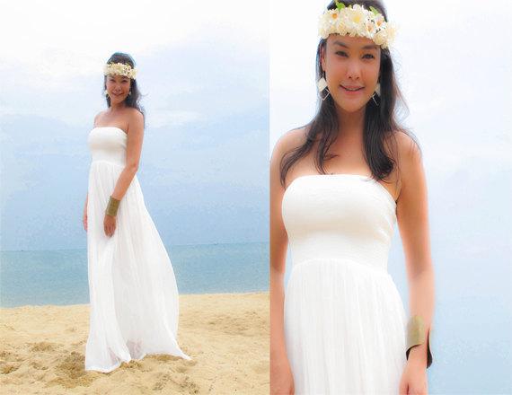 Mariage - White wedding beach dress  chiffon Strapless long maxi dress fits all size