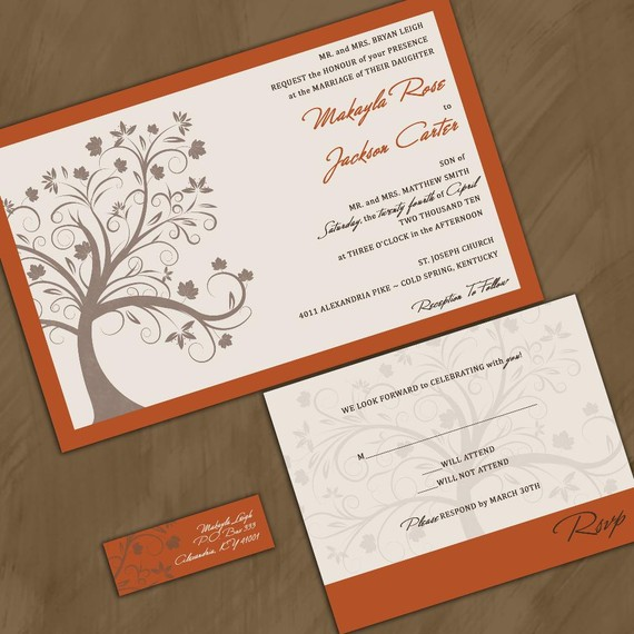 Hochzeit - Modern Fall Maple Tree Wedding Invitation - Sample Packet - Autumn Wedding