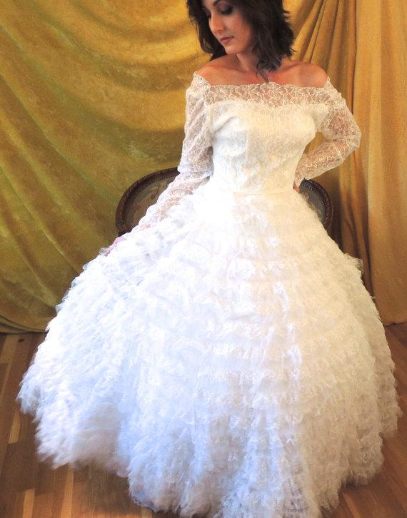 50s Ruffled Cupcake Wedding Dress/Vintage 1950s Full Skirt Tulle ...