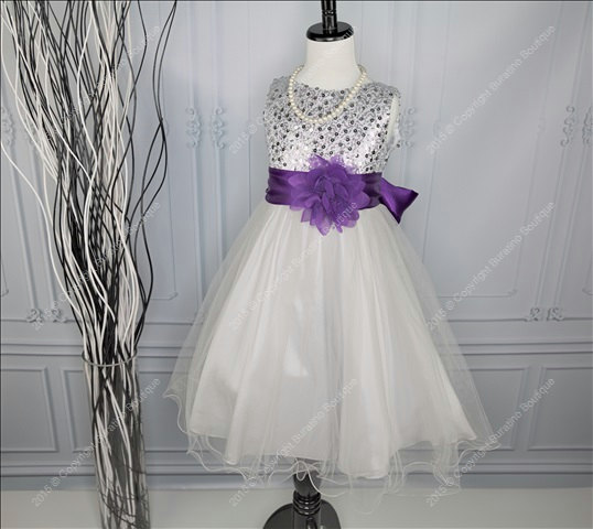 Wedding - Flower Girl Dress, Communion, Special Occasion Girls Dress with Ivory, Red, Black,Silver Sash, White Black Silver Sequin Girls Dress