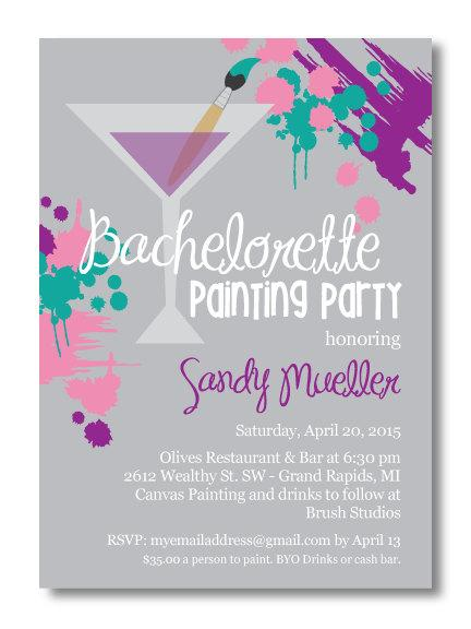 Hochzeit - Printable Bachelorette Painting Party Invitation