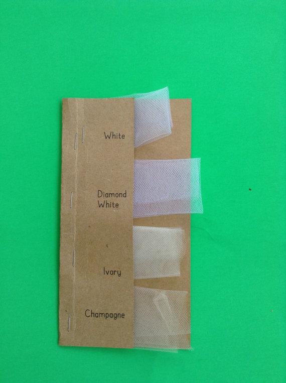 Wedding Veil Fabric Swatch Sample White Diamond Ivory Champagne