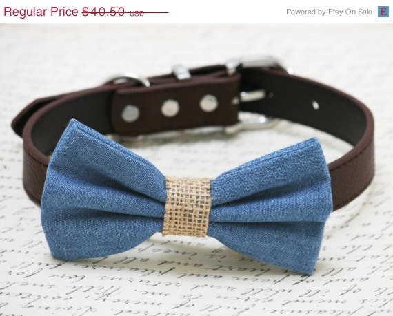 Свадьба - Blue and brown dog bow tie -Blue Burlap dog bow tie, wedding dog collar, Country, Rustic Wedding , dog birthday gift, denim bow tie