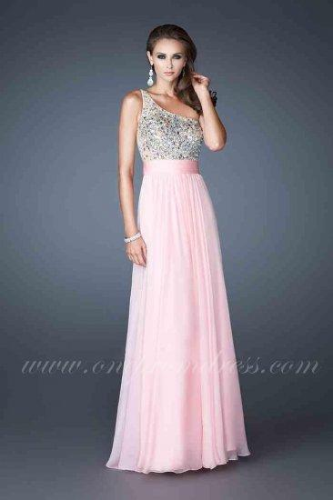 Wedding - La Femme 18646 Cotton Candy Pink One Shoulder Empire Prom Dress